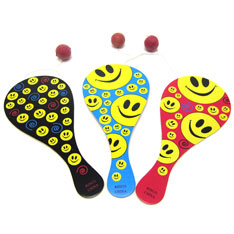 smiley face paddle ball